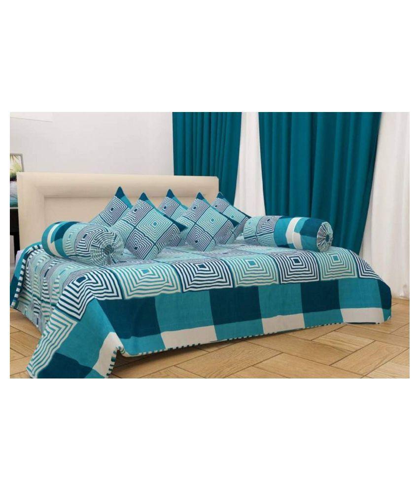 KS21 Homes Poly Cotton Blue Abstract Diwan Set 8 Pcs