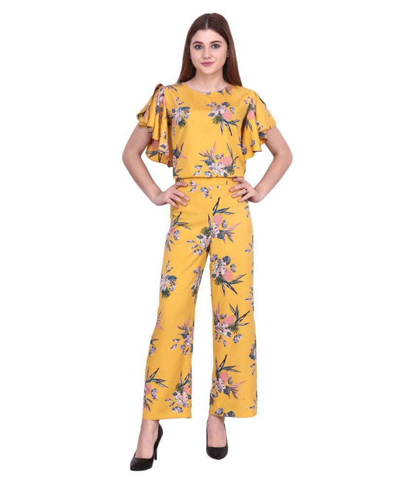 POPWINGS Yellow Polyester Jumpsuit