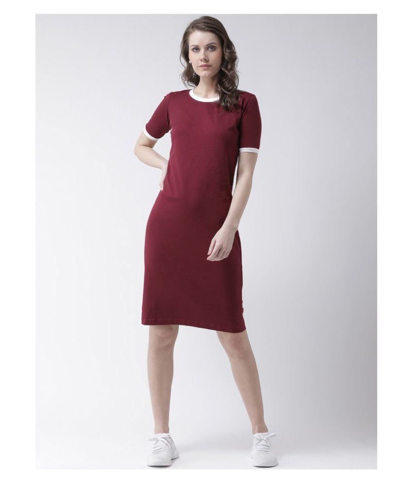 The Dry State Cotton Maroon T-shirt Dress
