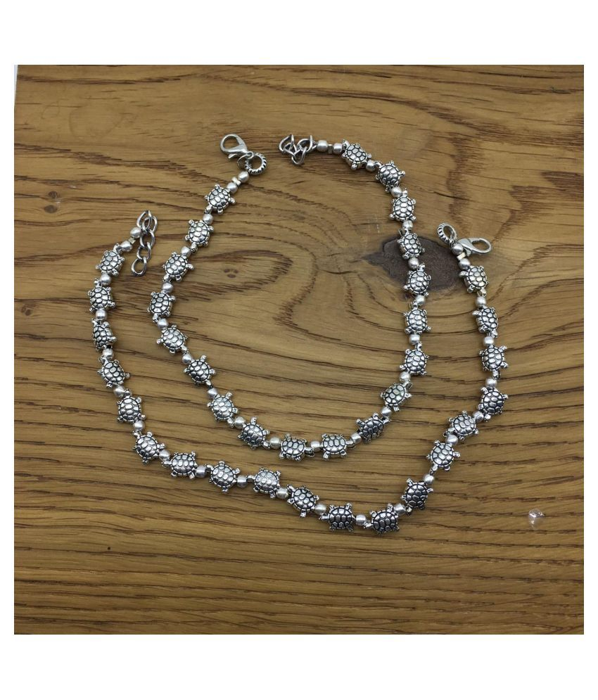 Digital Dress Traditional Authentic Attractive Indian Style Alloy Metal Fancy Oxidised German Silver Plated Tortoise Anklet Payal/Pazeb Pair for Women and Girls Gift Jewellery (Pack of 2)