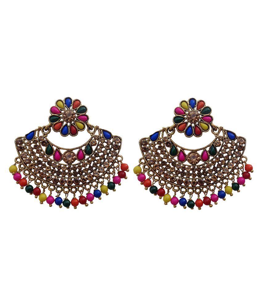 Trendeela Arwa Floral Inspired Gems Embellished Artistic Dangle Earrings