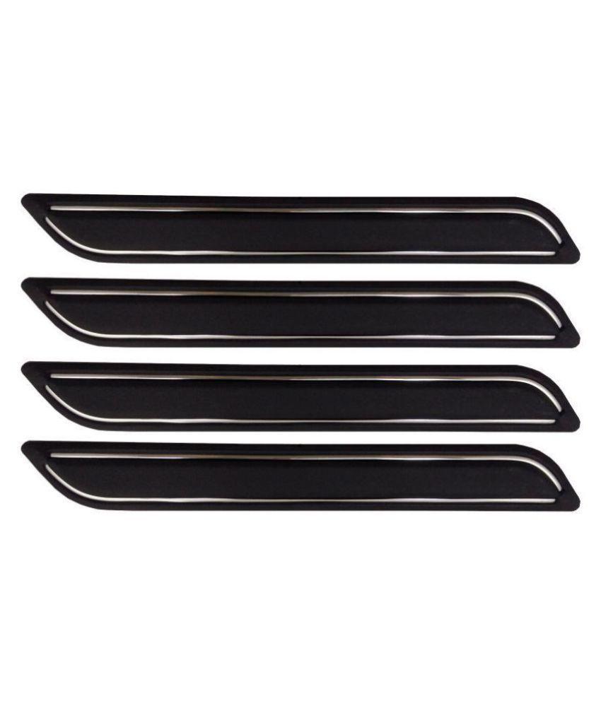 Ek Retail Shop Car Bumper Protector Guard with Double Chrome Strip (Light Weight) for Car 4 Pcs  Black for Maruti SuzukiSwiftDzireVDIOptional