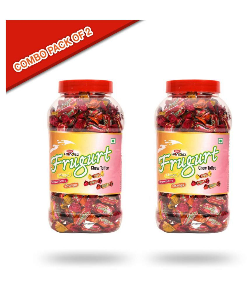 Mahak Frugurt Assorted Candies Jars Toffees 1200 gm Pack of 2