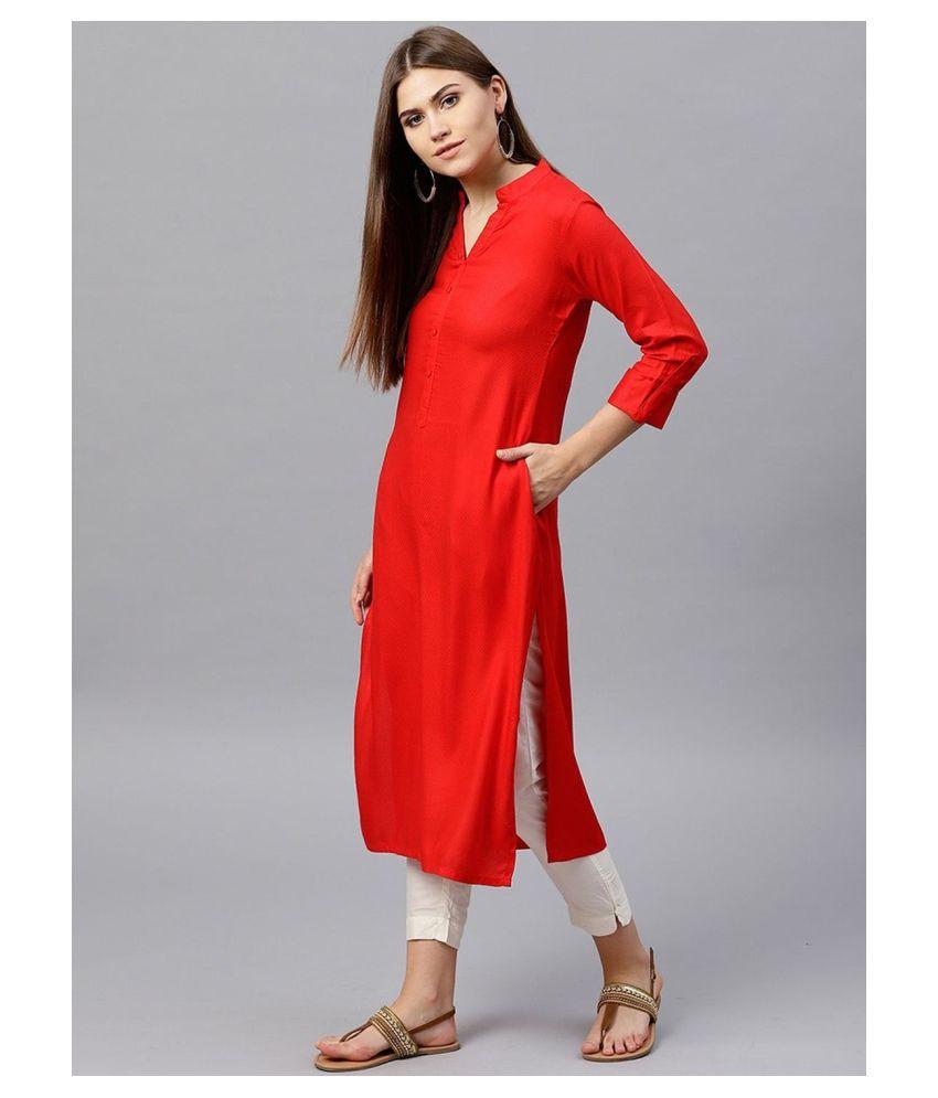 SILK ROOTS Red Rayon Straight Kurti