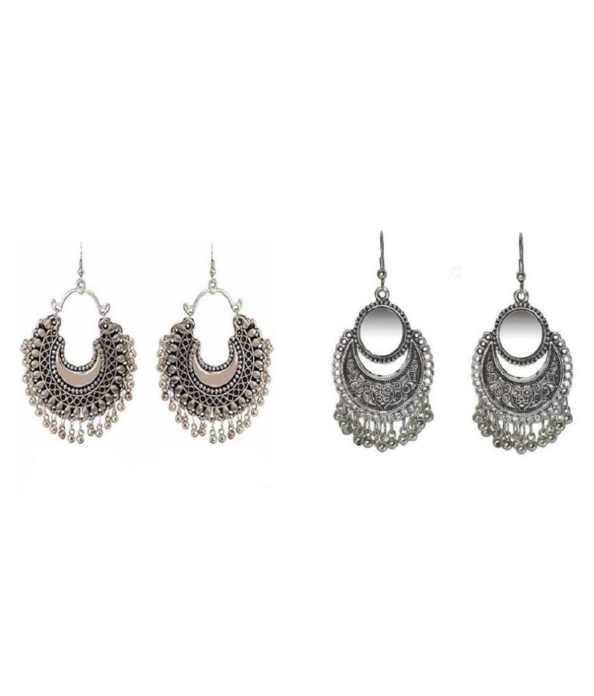 Pack Of 2 Pairs Of Hot/ Selling Artificial Jewellery Mirror Classy Oxidised Afghani Earrings (Both Mirror Golden & Silver)