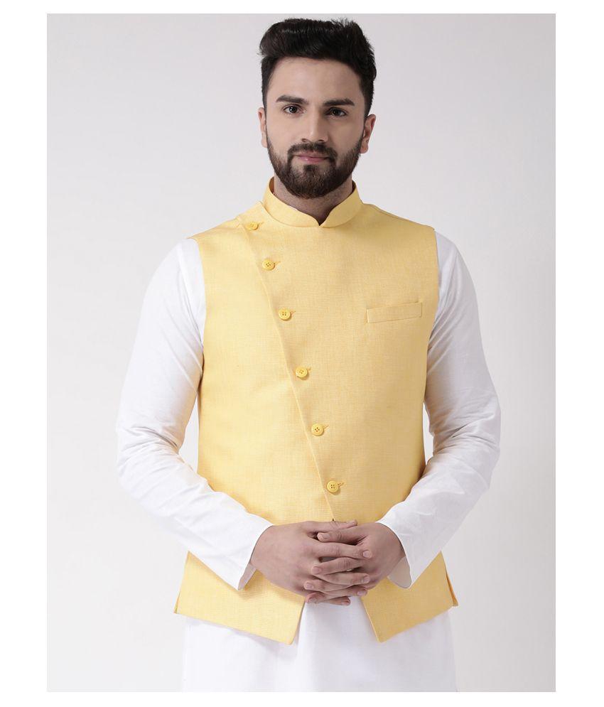Tabard Yellow Cotton Nehru Jacket