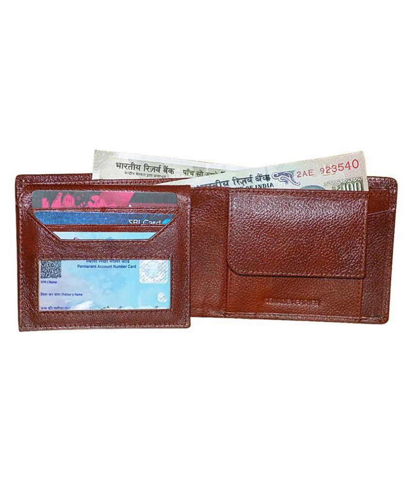 KAN Leather Brown Formal Regular Wallet