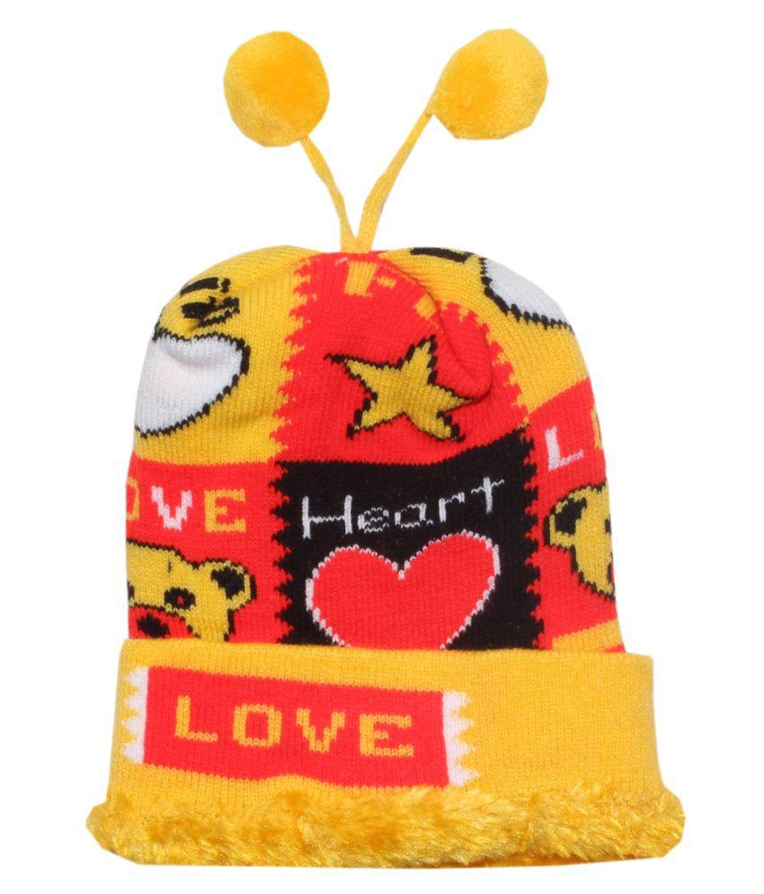Goodluck Winter Caps for Kids (Yellow)