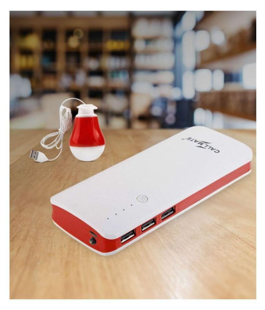 Callmate P3 amp; LED USB Bulb 15000  mAh Li Ion Power Bank Red