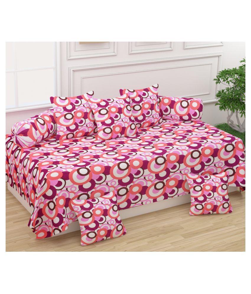 Homefab India Cotton Pink Polka Diwan Set 8 Pcs