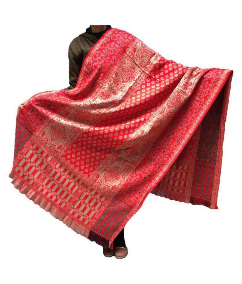 KASHMIRI Red Loom-Woven Shawl