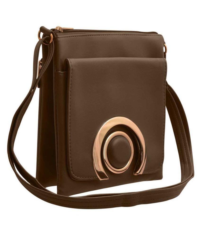 TAP FASHION Brown P.U. Sling Bag