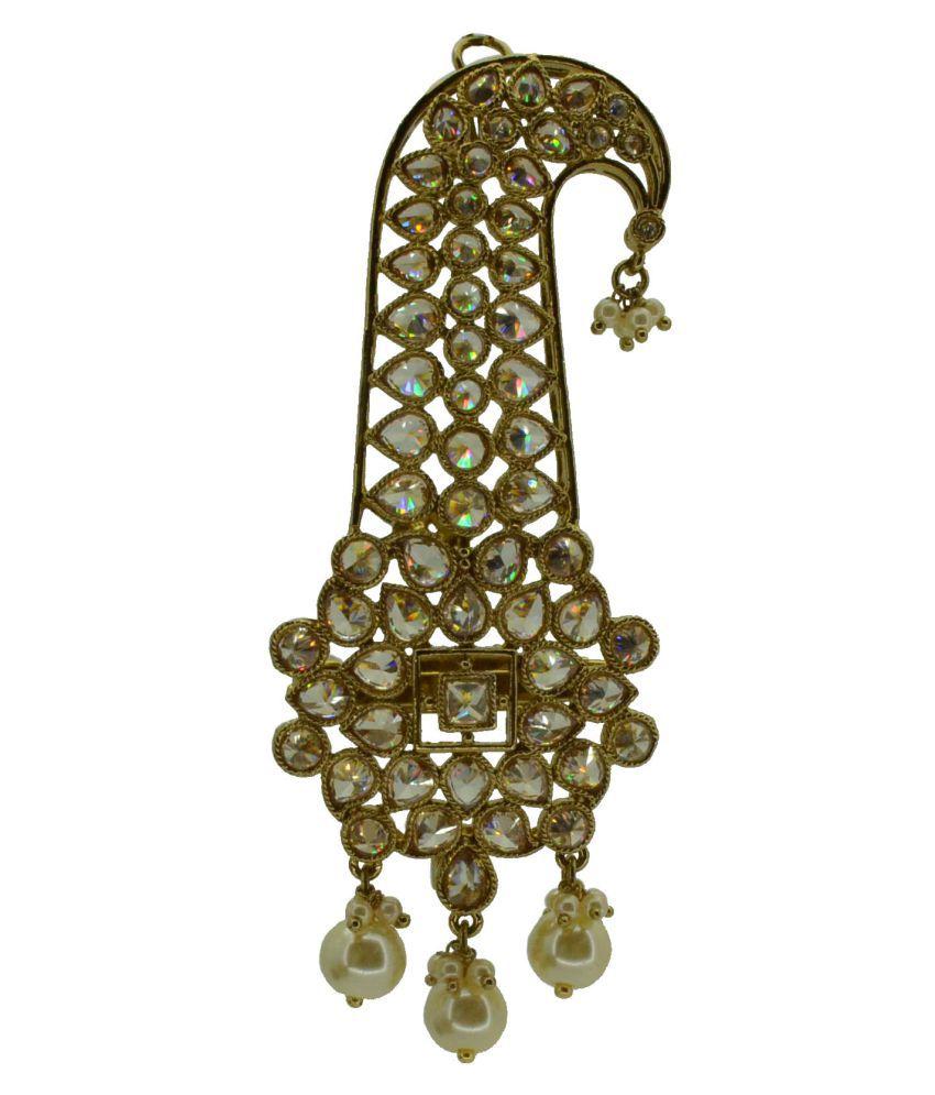 Antique Gold Plated Safa Kalangi With AD And White Drops Saloni Fashion Jewellery