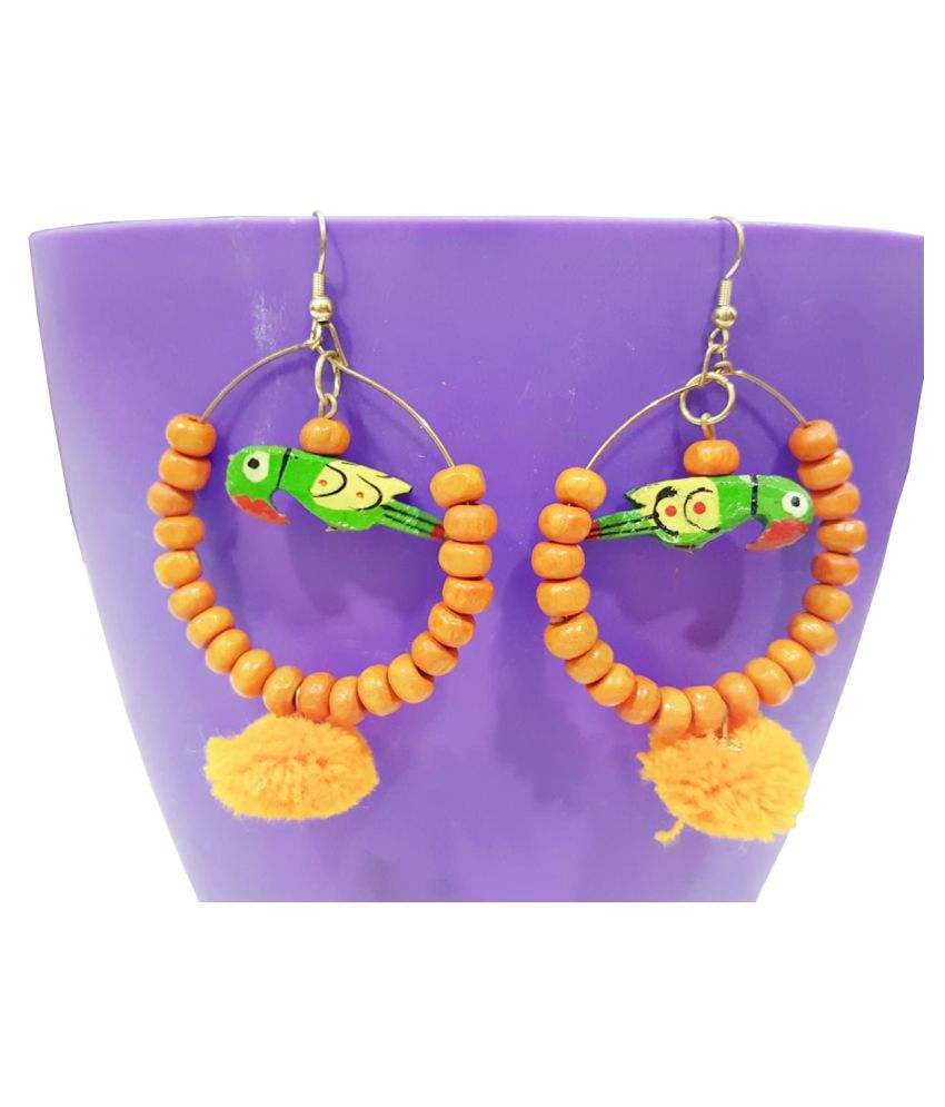 A2 Fashion Orange and Green Colour Pompom Collection Fashion Earring for Women and Girls