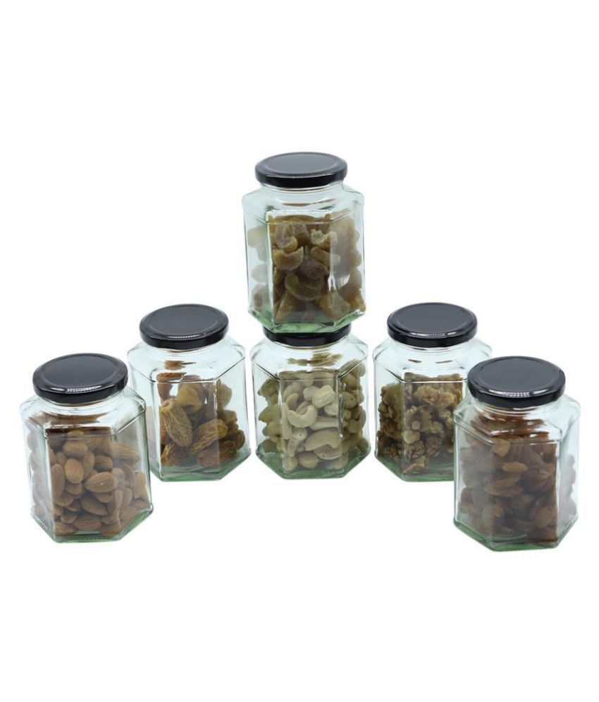 Glazzure Glass Spice Container Set of 6 450 mL