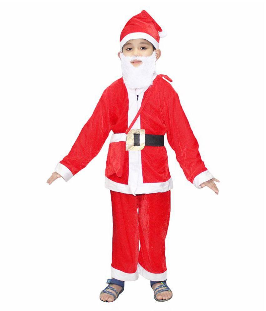 Kaku Fancy Dress Red Santa Clause Costumes for Kids (2-3 Years)