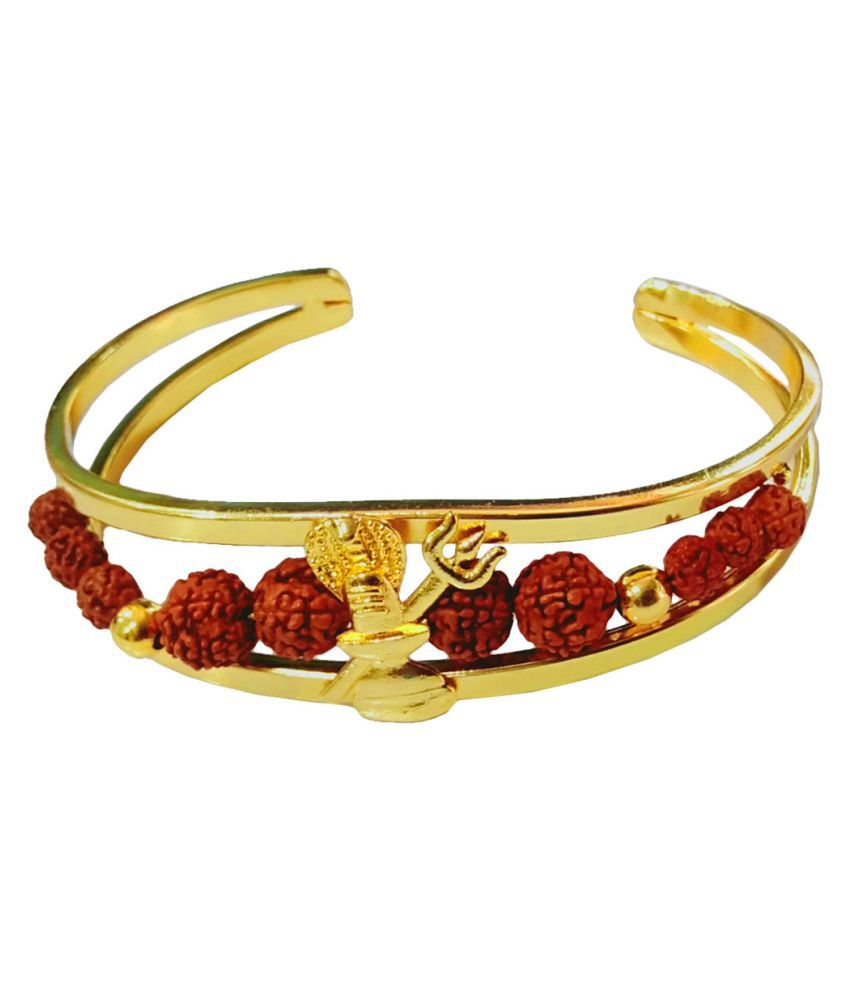 Men Style Lord Shiv Trishula Elegant Premium Rudraksha Gold Brown Wood Brass Cuff