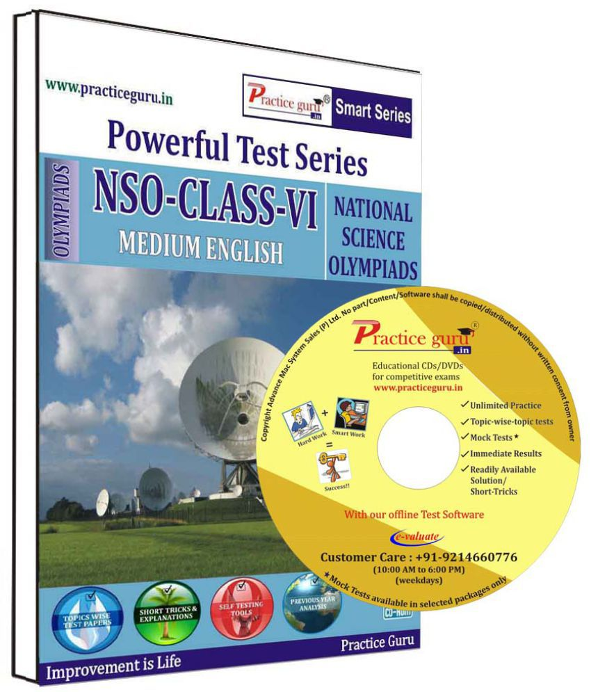 Practice Guru 22 Test 5 Mock Test,10 Previous Year Paper  for 6 Class NSO Exam  CD
