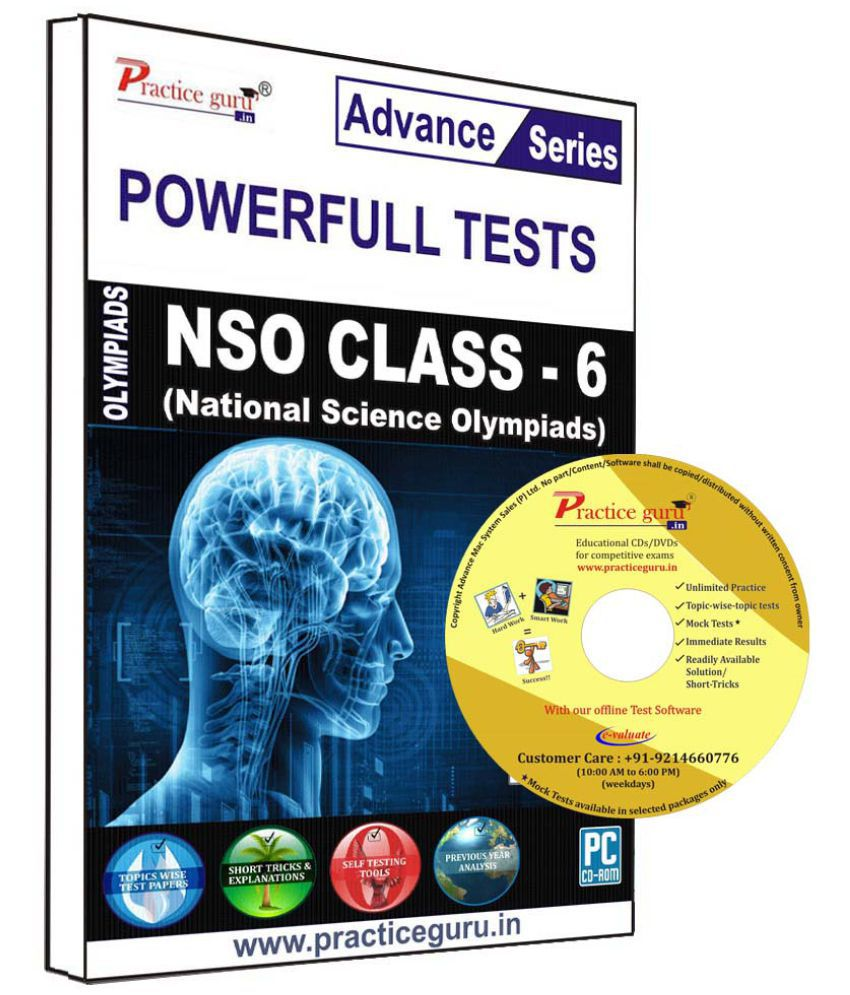 Practice Guru 55 Test 10 Mock Test,10 Previous Year Paper  for 6 Class NSO Exam  CD