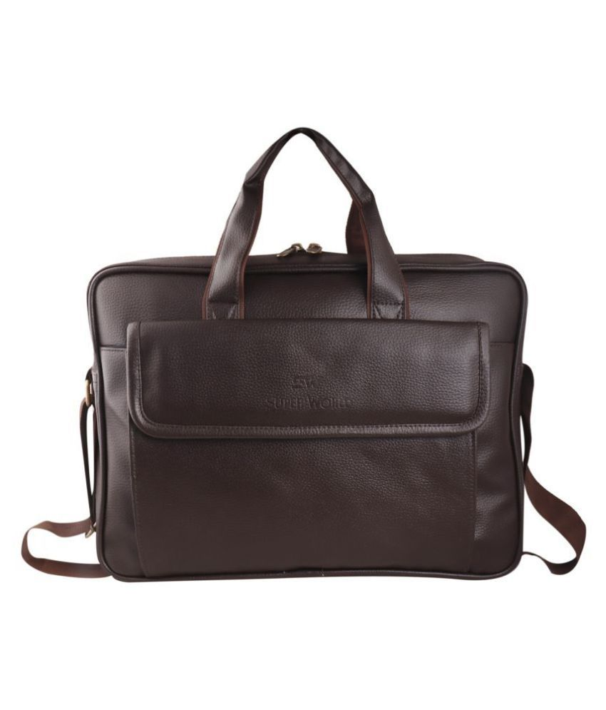 SW Super World Stylish Laptop Brown Synthetic Office Bag