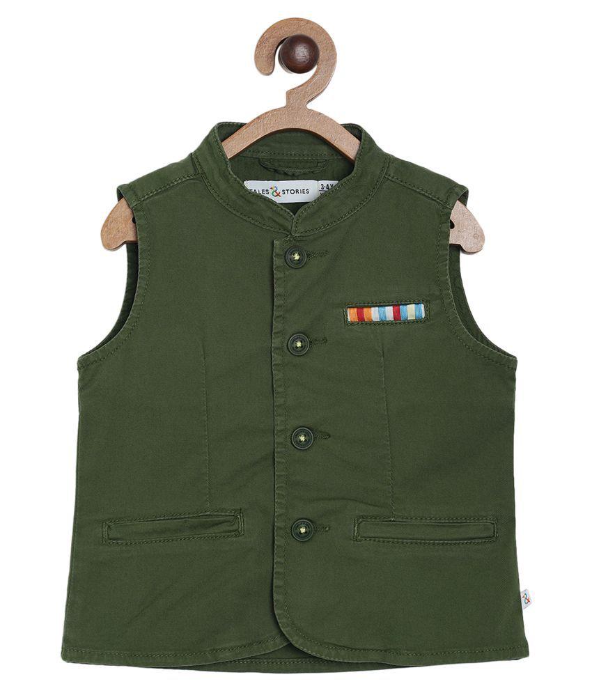 Tales & Stories Boys Green Cotton Regular Fit Waistcoat