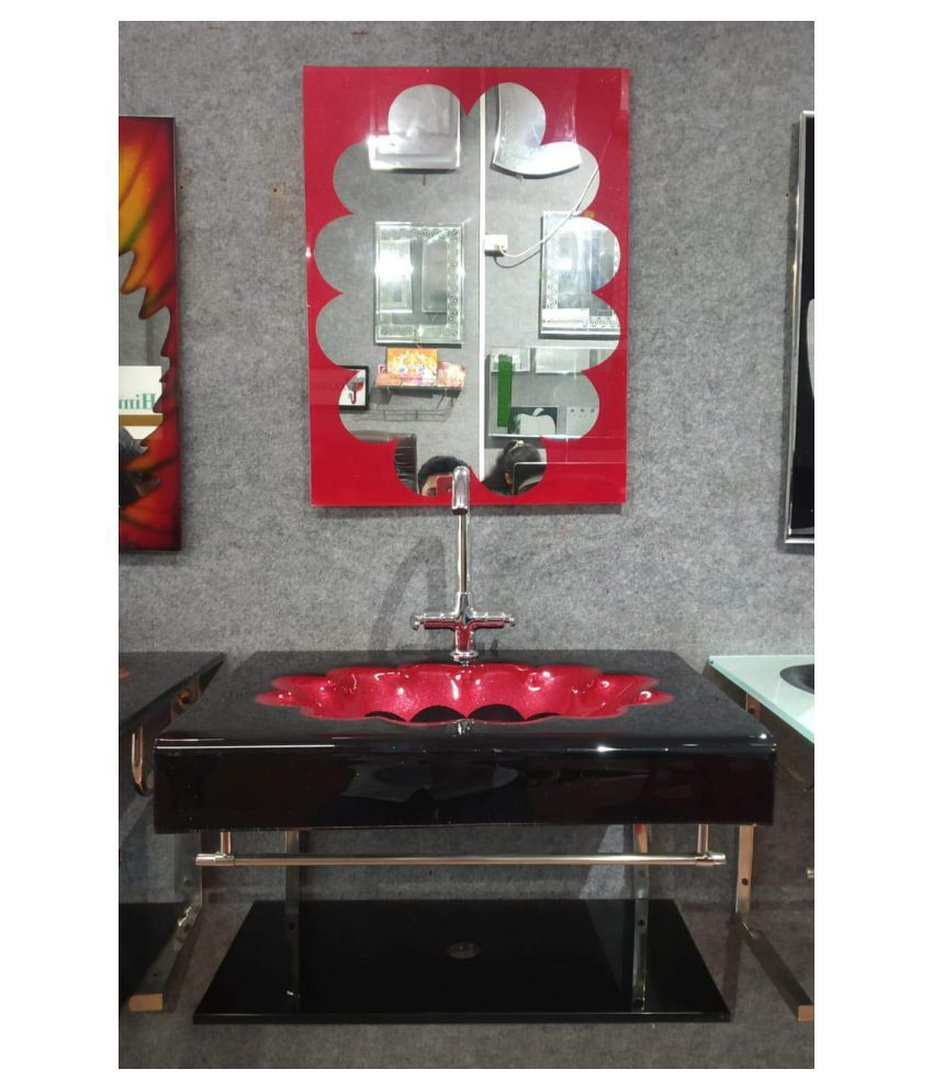 ARVIND SANITARY Red Toughened Glass Wall Hung Wash Basins
