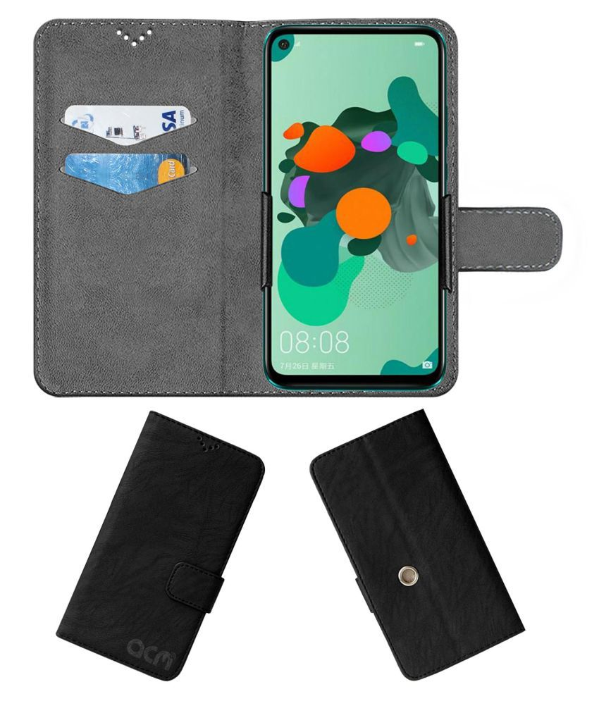 Huawei Nova 5I Pro Flip Cover by ACM - Black Clip holder to hold phone