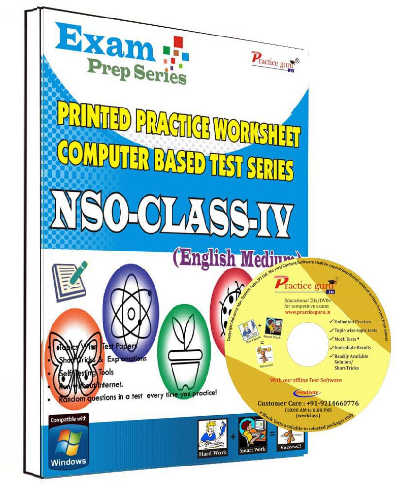 Practice Guru 18 Test ,10 Previous Year Paper,10 Worksheet (Printed) for 4 Class NSO Exam  CD