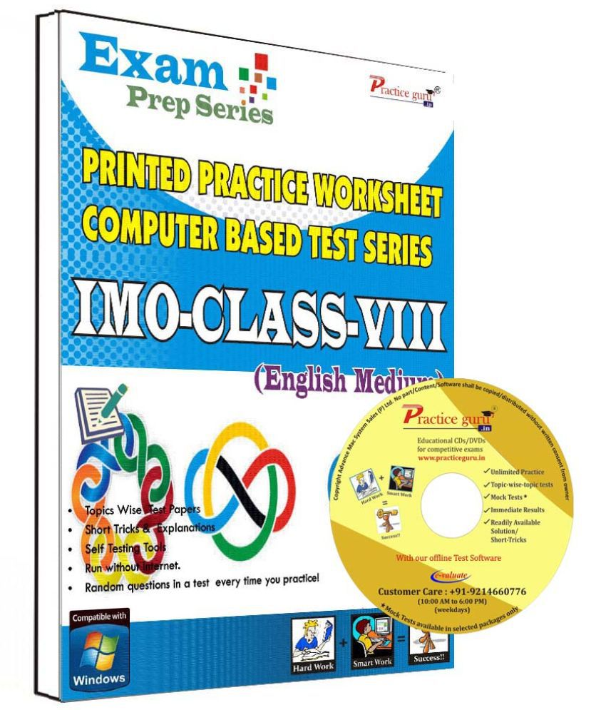 Practice Guru 32 Test ,10 Previous Year Paper,30 Worksheet (Printed) for 8 Class IMO Exam CD