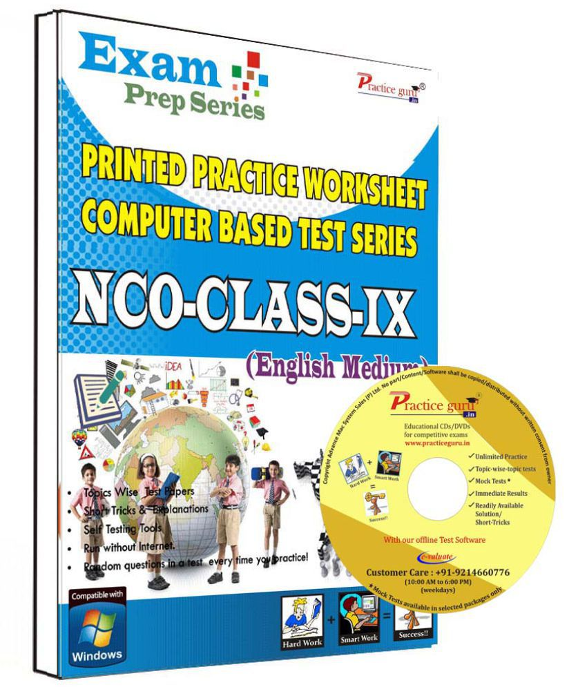 Practice Guru 32 Test ,10 Previous Year Paper,10 Worksheet (Printed) for 9 Class NCO Exam  CD