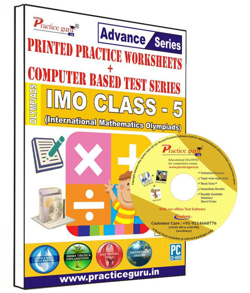 Practice Guru 50 Test 10 Mock Test,10 Previous Year Paper,30 Worksheet (Printed) for 5 Class IMO Exam CD