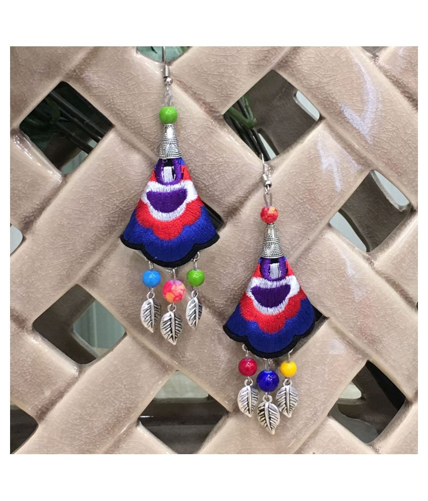 Digital Ethnic Silver Plated Oxidised Metal Alloy Hook Earrings Traditional lightweight Multicolored Embroidered Floral & Leaf bead Dangler Earrings Stylish Fancy Party Wear Jewellery For Women & Girl