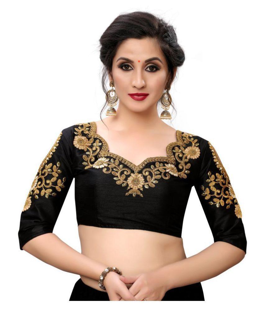 Fab Dadu Black Silk Readymade with Pad Blouse