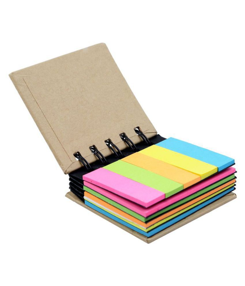 R H lifestyle Pocket Size Spiral Book With Neon 5 Color Sticky Notes And Flags ( 7 x 8 cm )