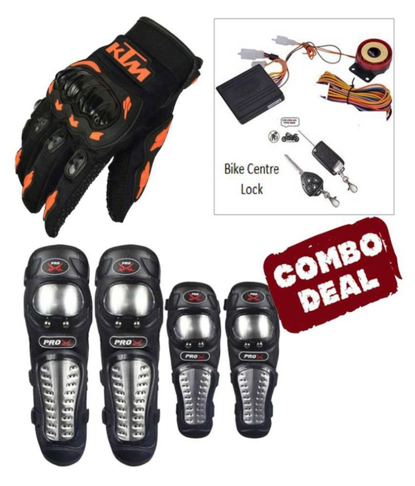 Biker Protective Gear Combo of Pro X Elbow Knee Guard Anti theft Security lock & KTM Gloves