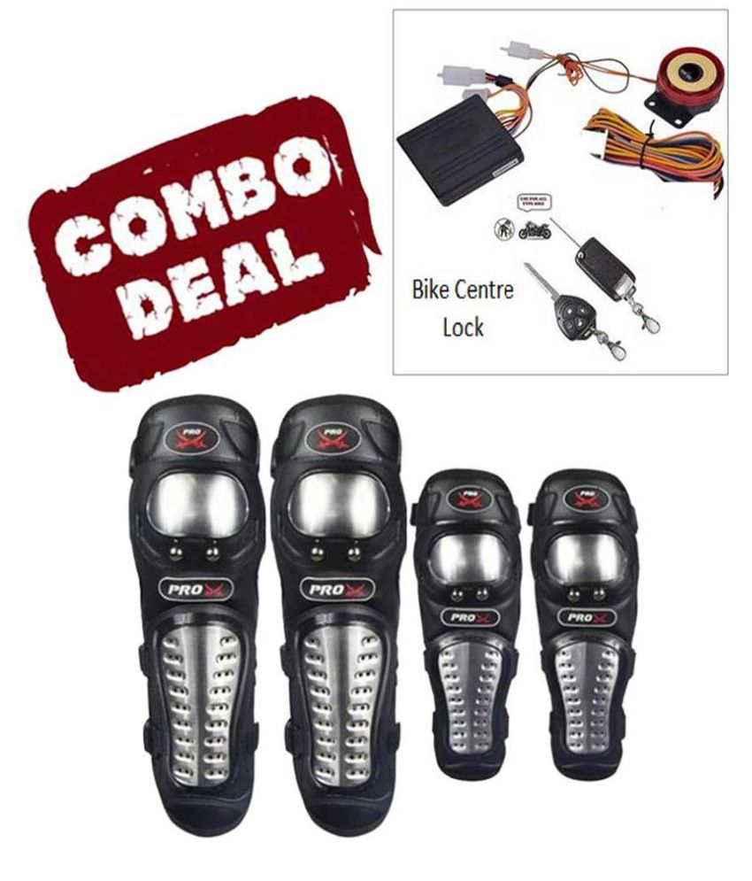 Biker Protective Gear Combo of Pro X Elbow Knee Guard & Anti theft Security lock