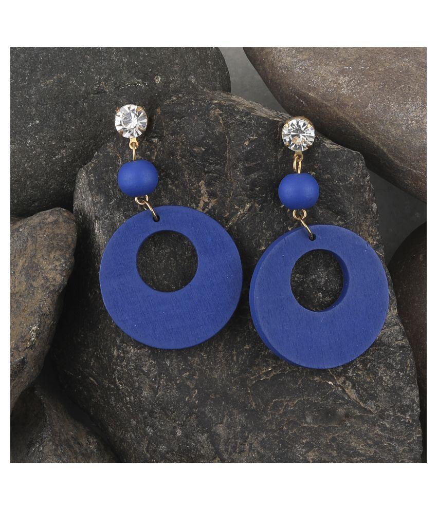 SILVER SHINE Charm Dangler  Diamond Wooden Earrings For Girls and Women