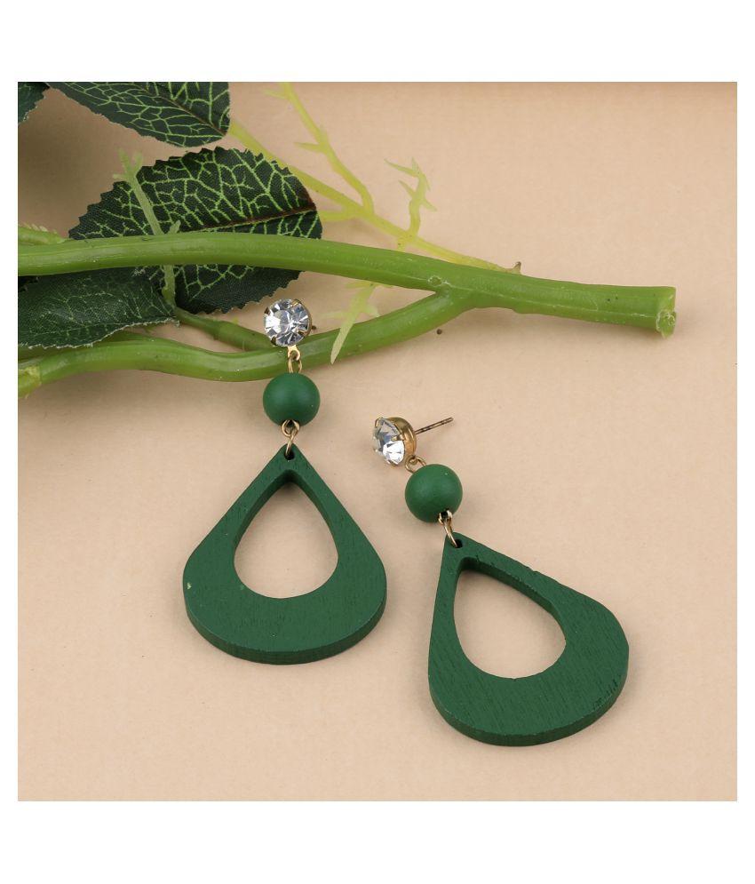 SILVER SHINE Elegant Diamond Light Weight Dangle Wooden Earrings for Girls and Women.