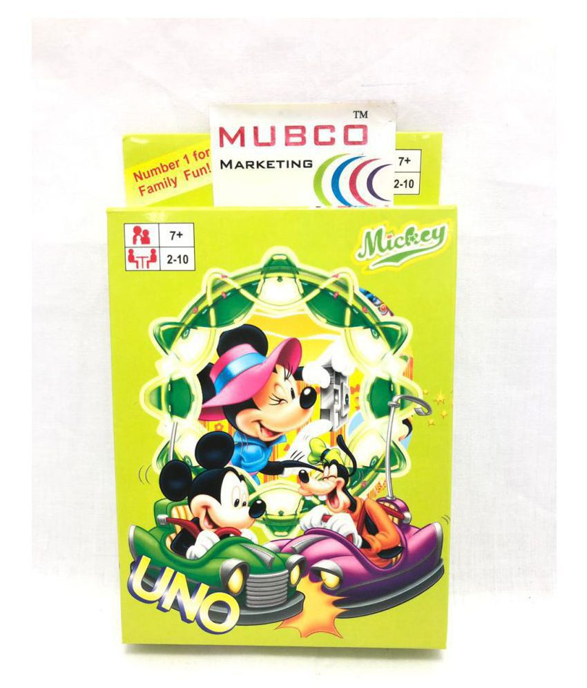 UNO Cartoon Characters Card Game | 2-10 Players | 108 Cards | Ages 7+ (Mickey Mouse)