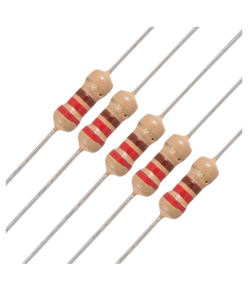 INVENTO 50Pcs 220 Ohm Carbon Film Resistor 1/4 W Resistance 0.25 Watt 250mW 5% Toleance High Quality For DIY