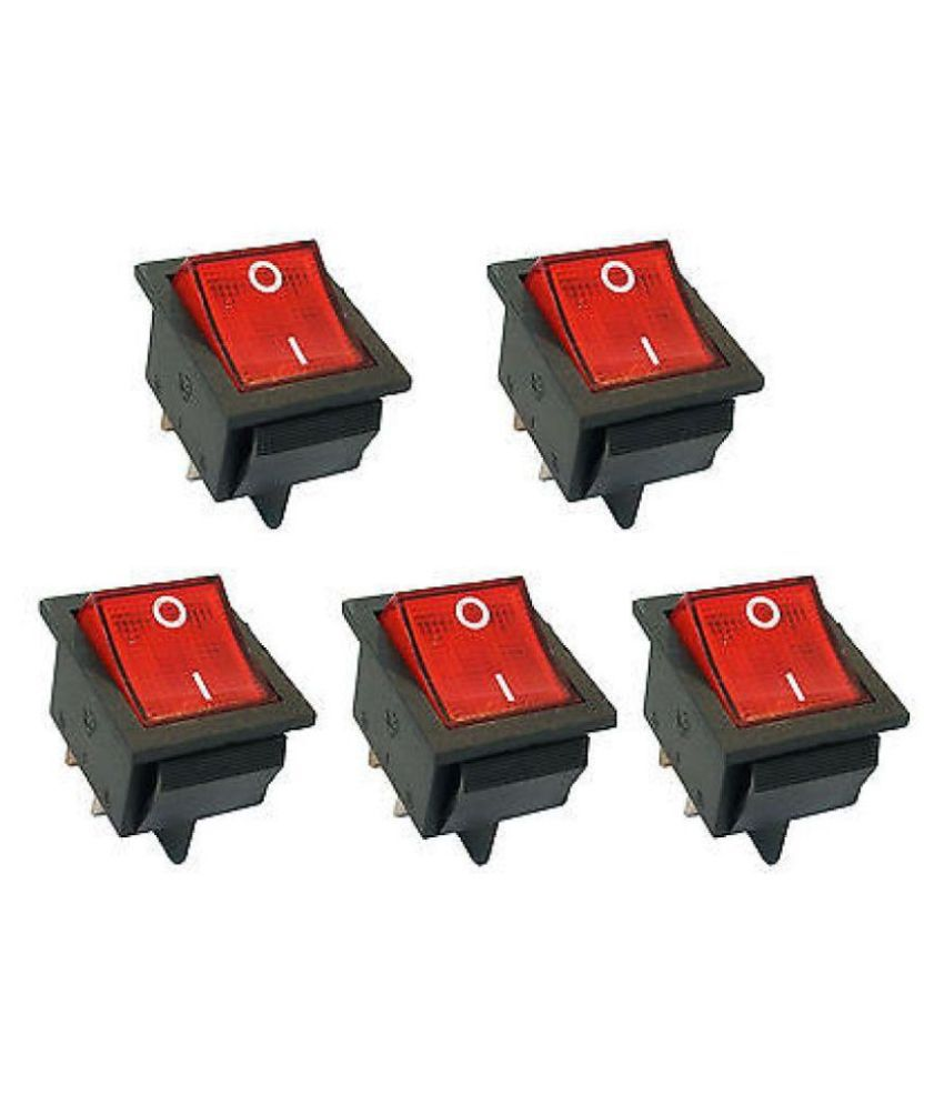 GADGETSMORE 10 Pcs AC 10A/125V 6A/250V 2 Pole SPST ON/OFF Mini Boat Rocker Switch(PACK OF 5)