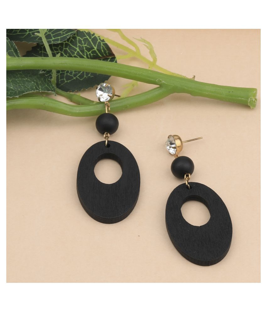 SILVER SHINE Exclusive Wooden Earrings Long Dangler Light Weight for Girls and Women.
