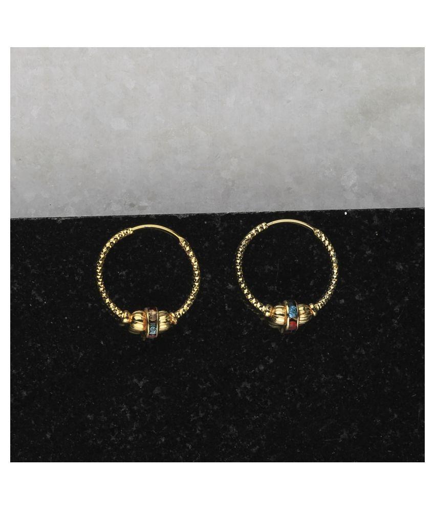 SILVER SHINE Gold Plated Bali Earring For Women Girl