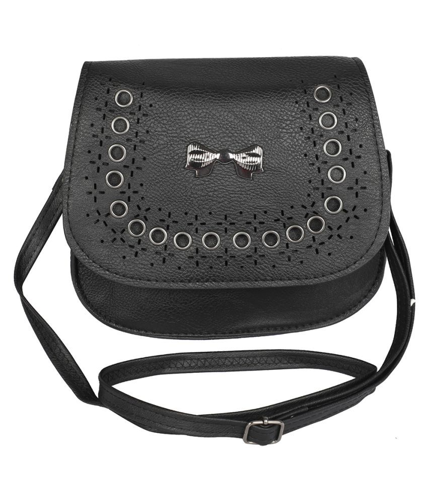 NFI essentials Black P.U. Casual Messenger Bag