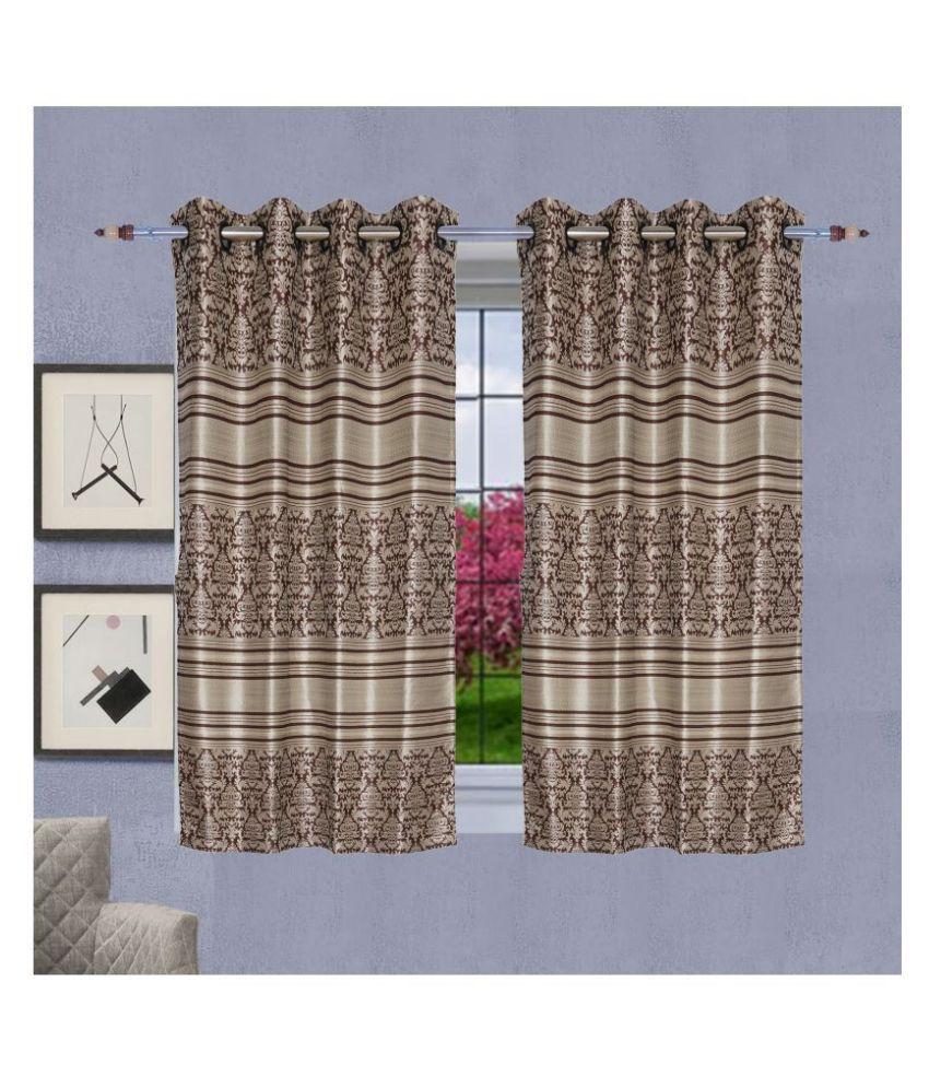 PardaOnline Single Window Semi-Transparent Eyelet Poly Cotton Curtains Brown