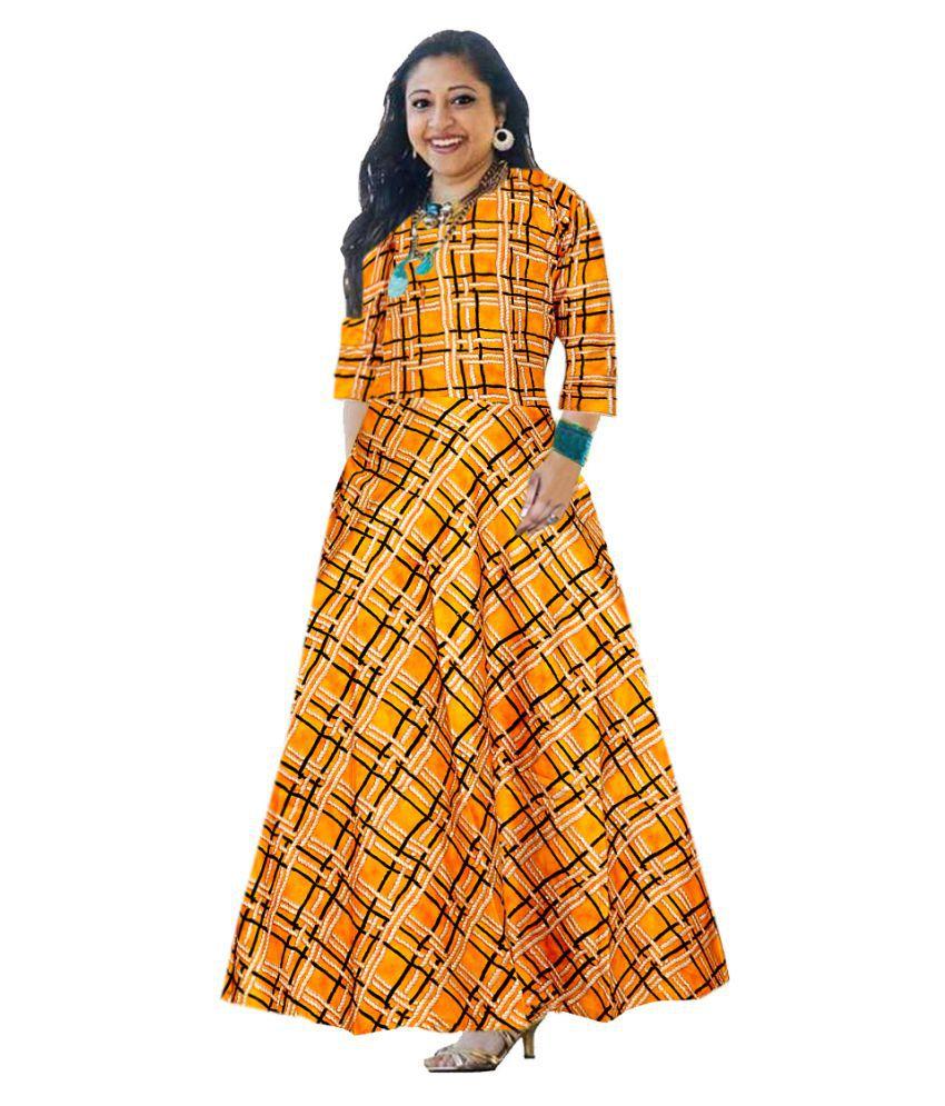 JWF Rayon Yellow A- line Dress
