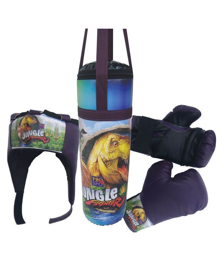 PROSPO'S EXCLUSIVE DESIGN KIDS BOXING SET – (PUNCHING BAG/ GLOVE/HEADGEAR), BEST BOXING SET, FIRST LEARNING BOXING SET – JUNGLE FIGHTER - PURPLE