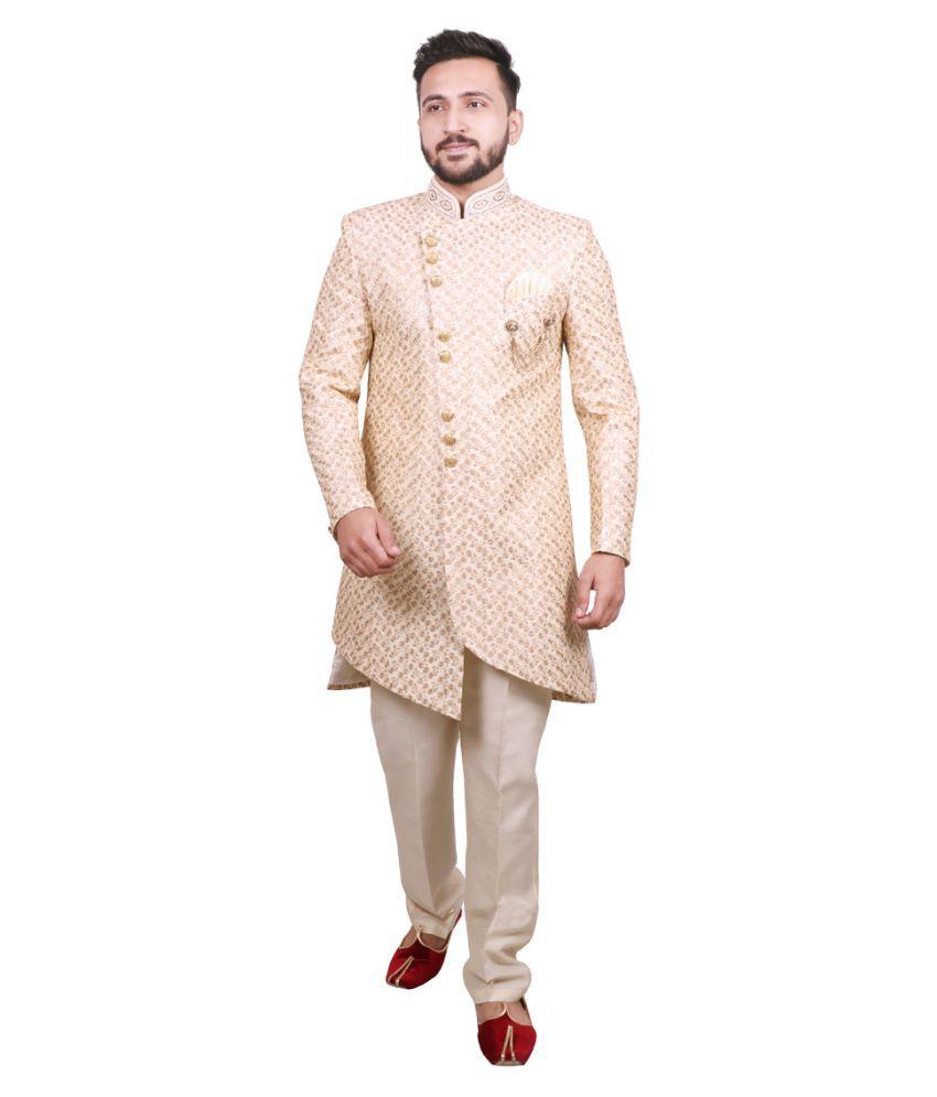 SG RAJASAHAB Gold Silk Blend Sherwani