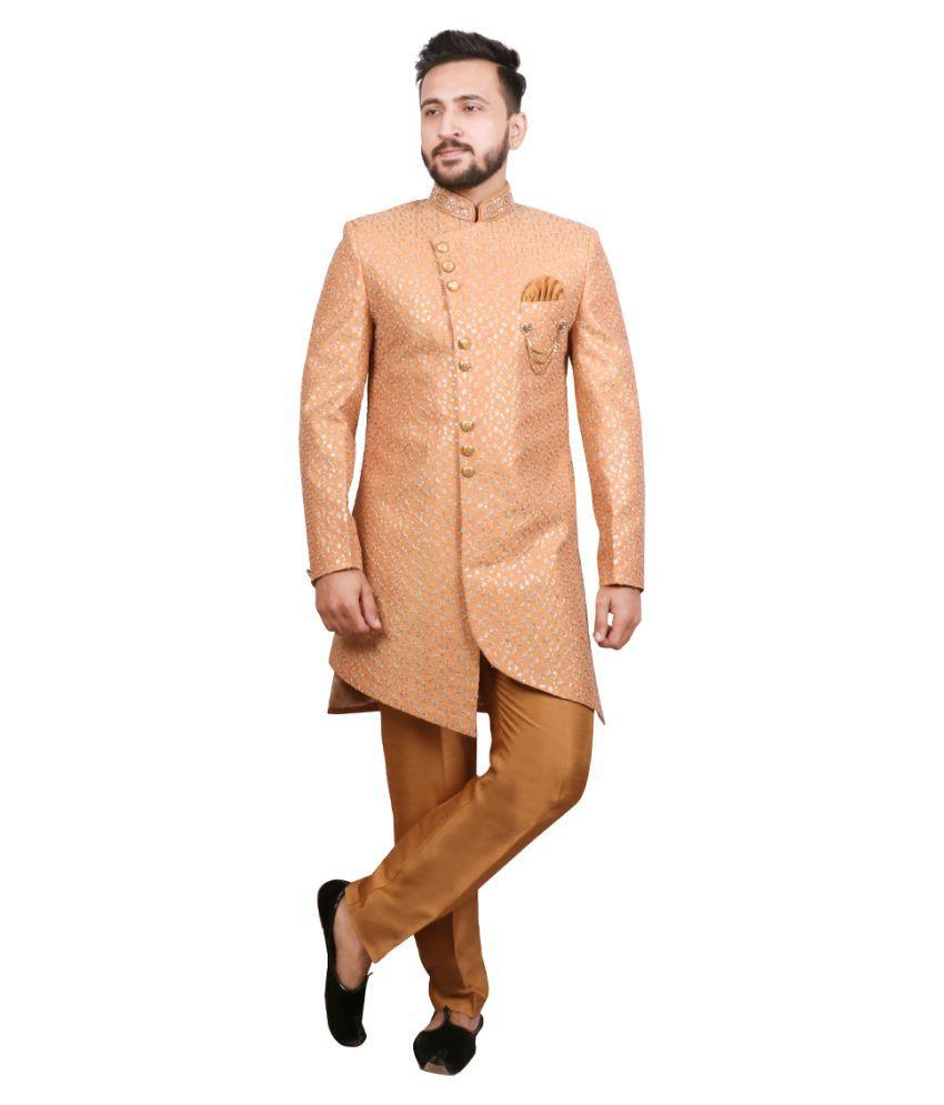 SG RAJASAHAB Yellow Silk Blend Sherwani