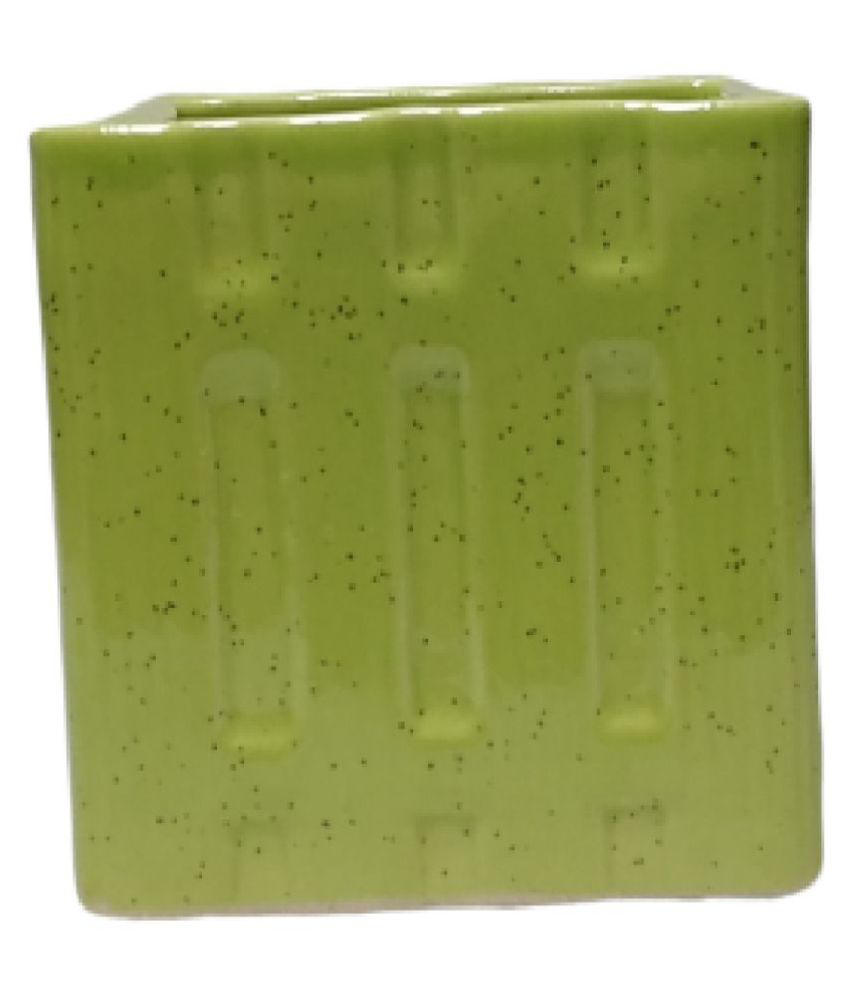 Metier Glazed Green Square Planter For Home-1pc Indoor Ceramic Planters